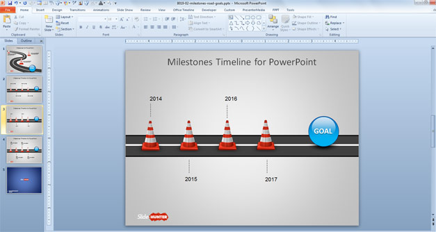 road-cones-powerpoint-timeline-template
